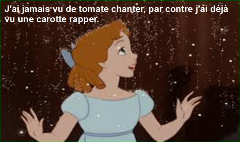 J'ai jamais vu de tomate chanter, par contre j'ai déjà vu une carotte rapper. Top Citation Humour Aurélien Malecki.