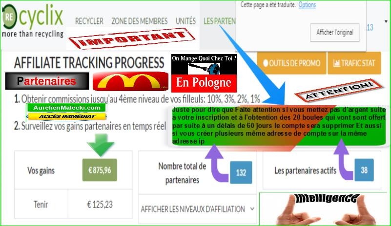 Situation business recyclix mi Août 2016 cagnotte Compte commissions