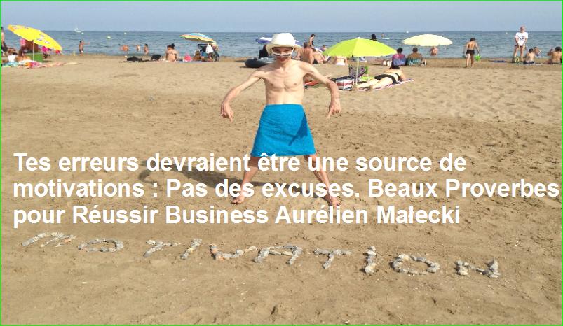 Tes erreurs devraient être une source de motivations : Pas des excuses. Beaux Proverbes pour Réussir Business Aurélien Małecki