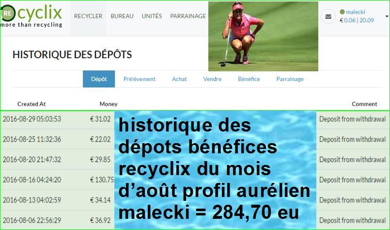 Historique Compte Français Recyclix Rachats Gains Aurélien Malecki Août 2016