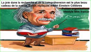 La joie dans la recherche et de la compréhension est le plus beau cadeau de la nature. Belles répliques Albert Einstein Célèbres Poètes organisations lifestyle Mlm france