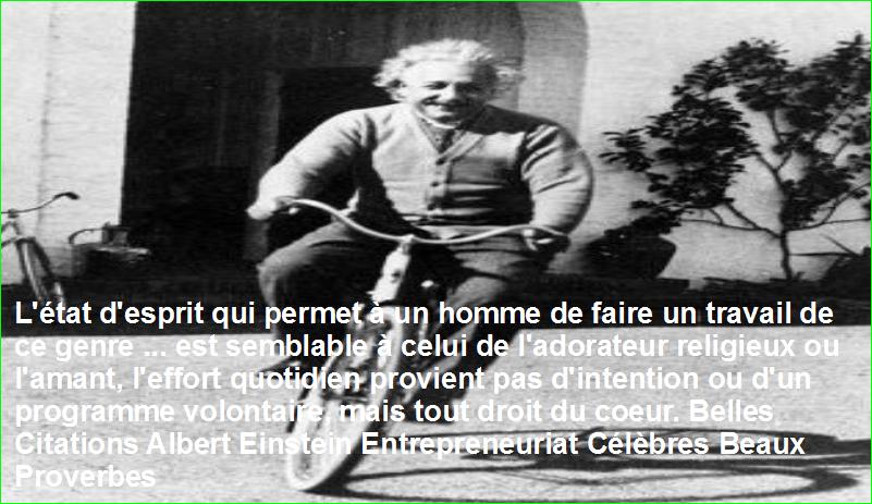 L'état d'esprit qui permet à un homme de faire un travail de ce genre ... est semblable à celui de l'adorateur religieux ou l'amant, l'effort quotidien provient pas d'intention ou d'un programme volontaire, mais tout droit du coeur. Belles Citations Albert Einstein Entrepreneuriat Célèbres Beaux Proverbes
