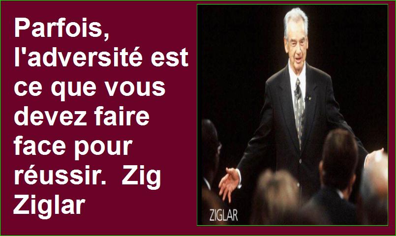 Parfois, l'adversité est ce que vous devez faire face pour réussir. Zig Ziglar Belles Citations Populaires Développement Personnel