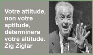 Votre attitude, non votre aptitude, déterminera votre altitude. Zig Ziglar Belles Citations Populaires Développement Personnel