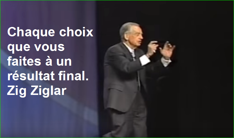 Chaque choix que vous faites à un résultat final. Zig Ziglar Belles Citations Populaires Leadership