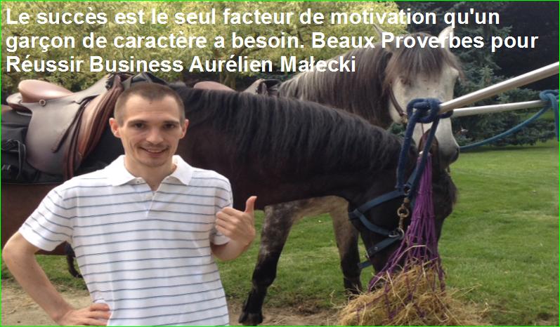 Le succès est le seul facteur de motivation qu'un garçon de caractère a besoin. Beaux Proverbes pour Réussir Business Aurélien Małecki