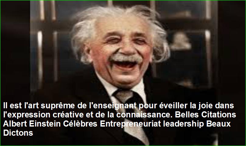 Il est l'art suprême de l'enseignant pour éveiller la joie dans l'expression créative et de la connaissance. Belles Citations Albert Einstein Célèbres Entrepreneuriat leadership Beaux Dictons
