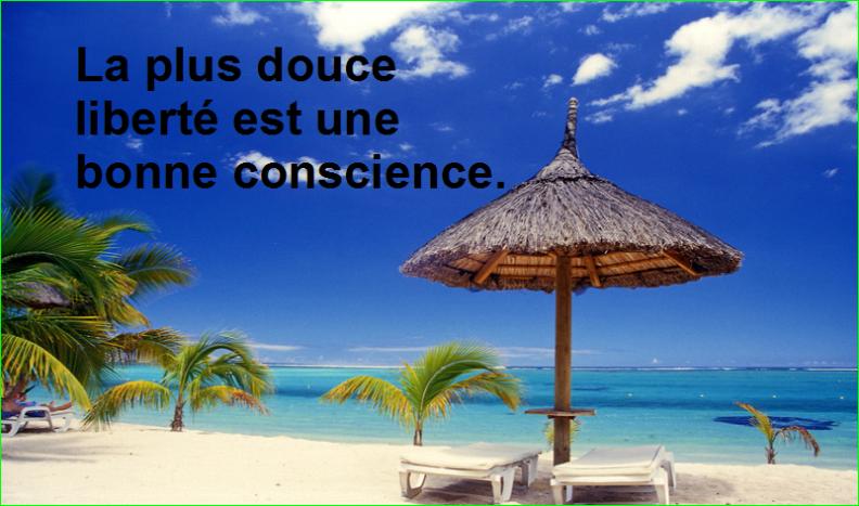 La plus douce liberté est une bonne conscience.Très Belle Citation image photo de aurélien malecki