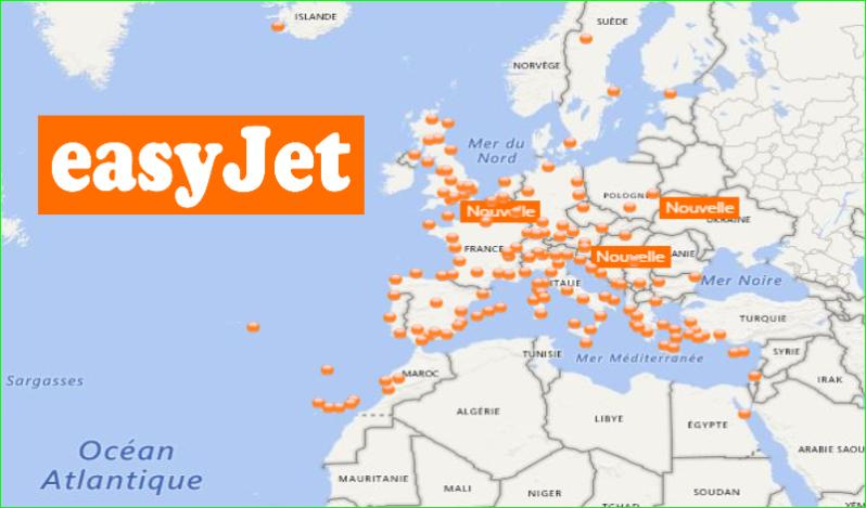 EasyJetCarte de destinations 2017 desTrajetsvols d'avions image photo de aurélien malecki