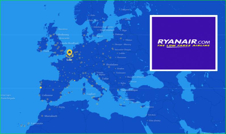RyanairCarte de destinations 2017 desTrajetsvols d'avions image photo de aurélien malecki